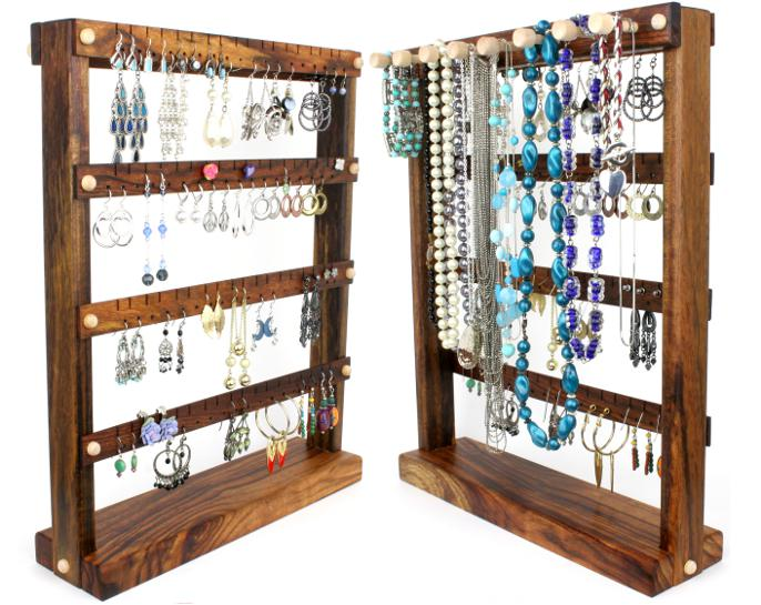 Caribbean Rosewood Jewelry Holder with Necklace Rack